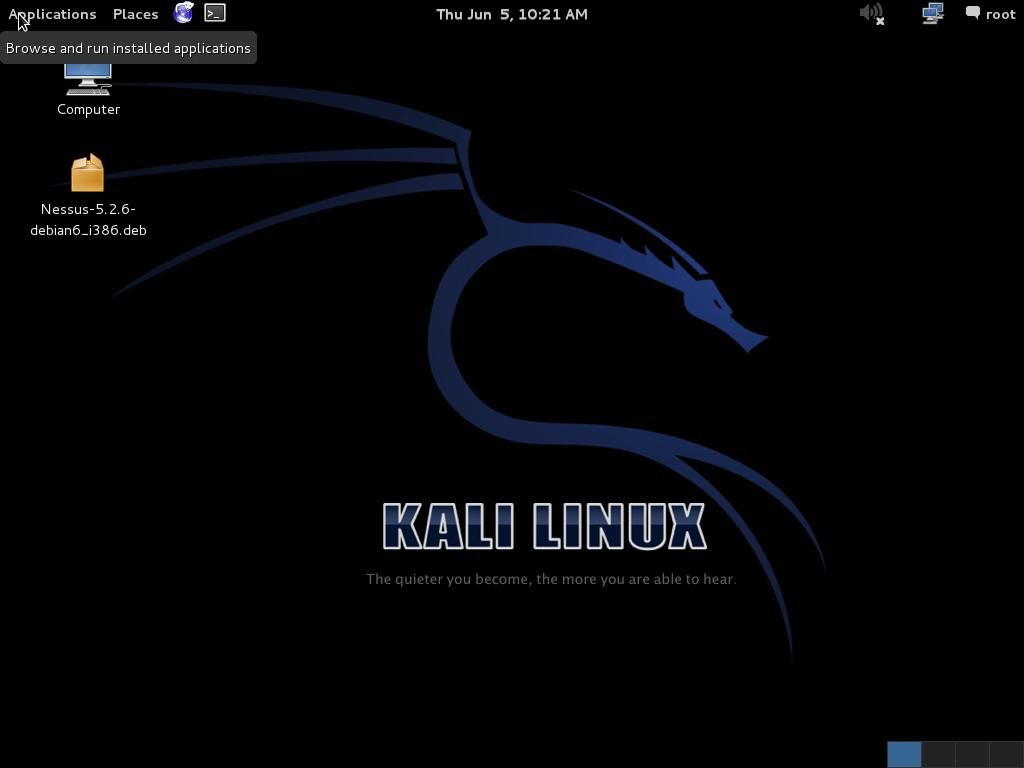 kali linux startup