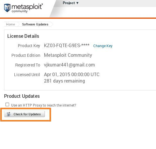metasploit check for update in Web Interface