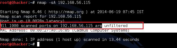 nmap -sA Acknowledgement Scan