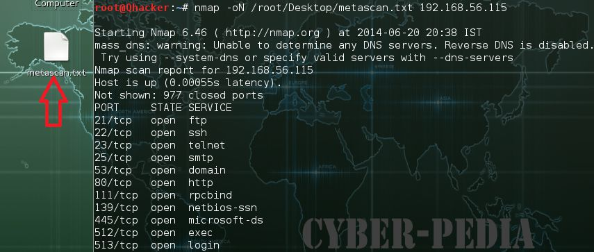 -oN Normal Output in Nmap