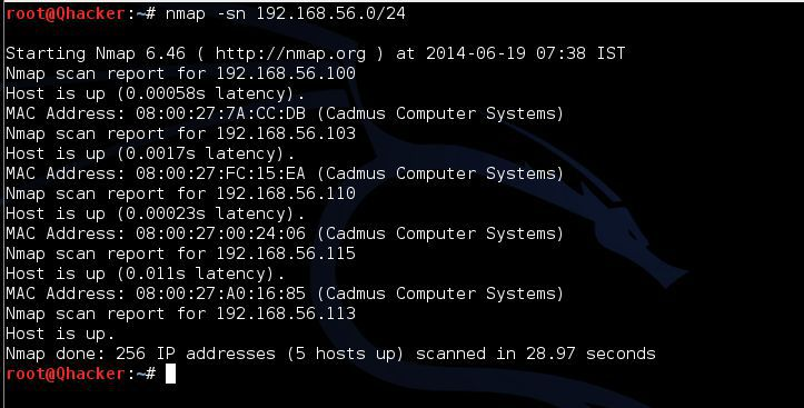 ping sweep scan by using nmap in kali linux