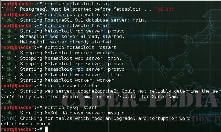 service metasploit start
