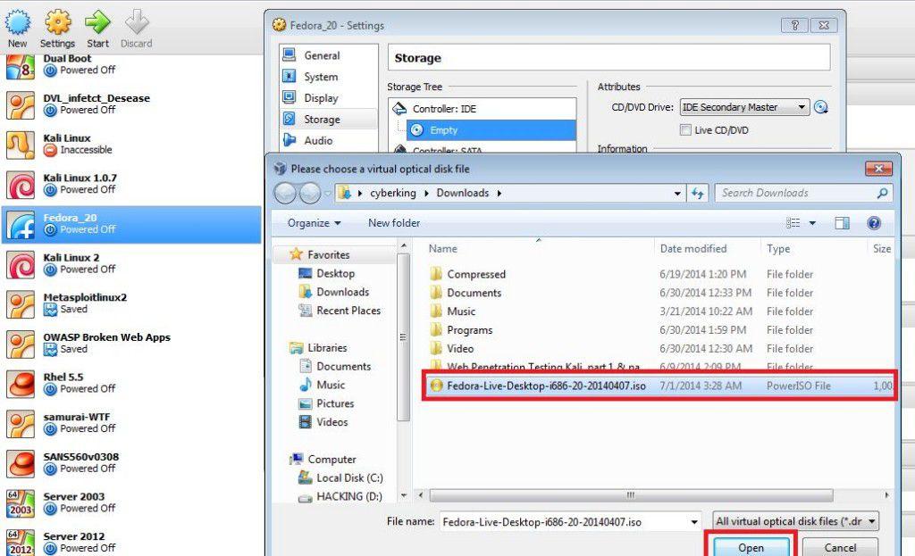 Configure VirtualBox before start installation of Fedora02