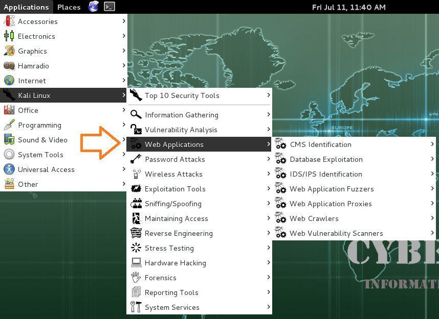 Web applications in kali LInux