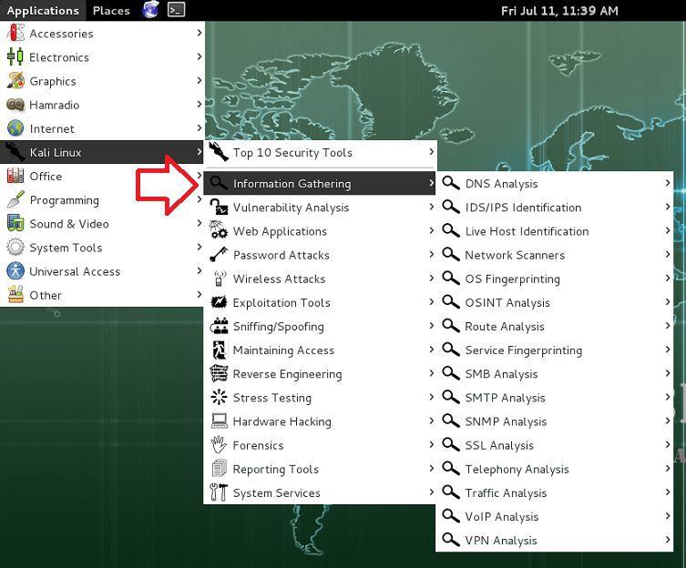 information gathering tools in kali linux