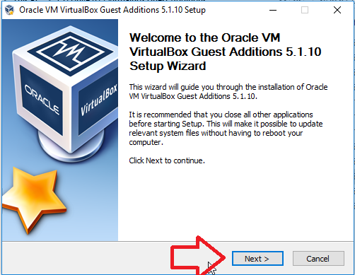 virtualbox guest additions Wizard