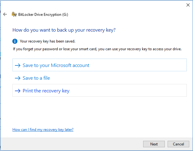 backup your recovery key