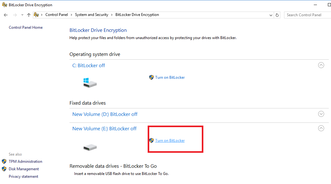 Turn on BitLocker