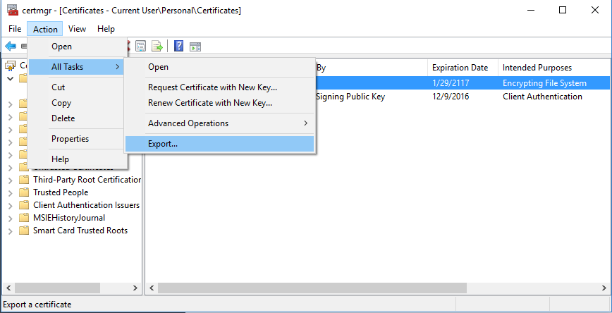 certificate manager for current use