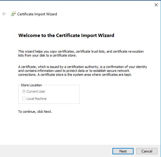 Certificate import wizar