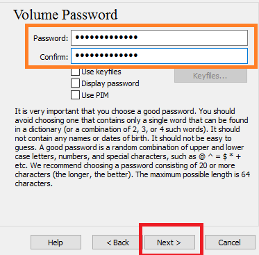 good password to protect your volume