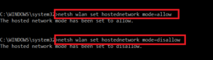 enable and disable wireless hosted network