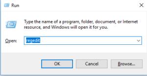 short key for registery edit