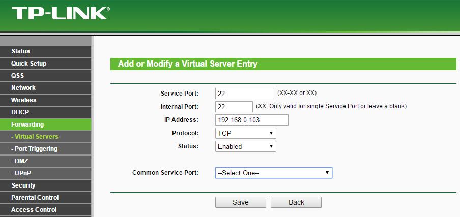 ssh port forwarding configuration