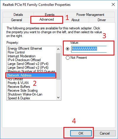 change mac address in windows 10