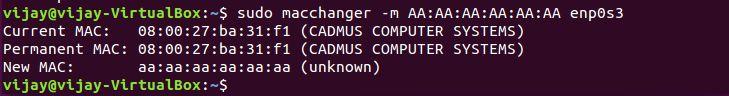change the mac address
