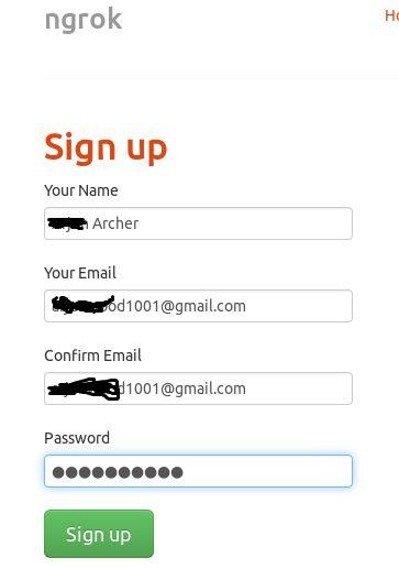 sign-up-on-ngrok
